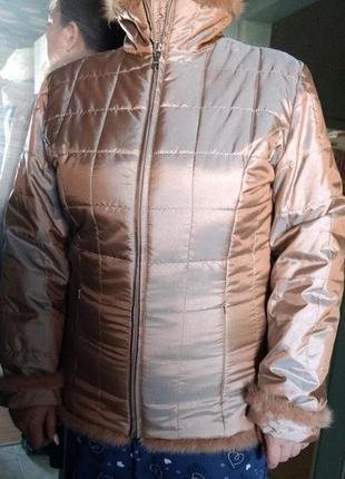 Куртка зимняя золотистая