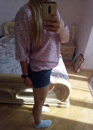 Блуза летучая мышь в цветок)