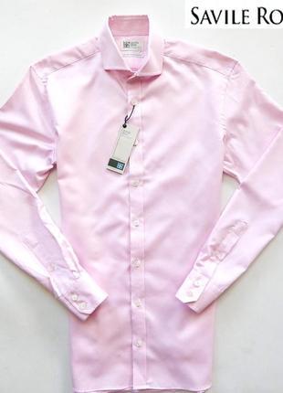 Розовая однотонная рубашка savile row