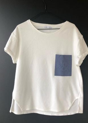 """Топ коллекционная футболка блузка с джинсовым карманом символом """"&""""от zara"""