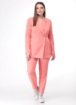 Персиковый розовый коралловый брючный костюм большого размера 60 размер