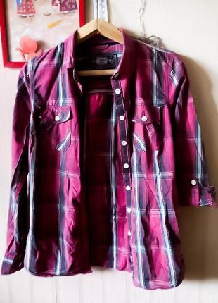 Рубашка колинз colins плотная розовая клетка олдскул олд качесвтенная пуговицы голубой