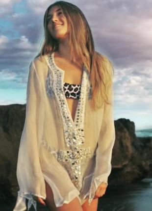 M – shivadiva – 100% шелк! шелковое пляжное платье, туника, на купальник – новое