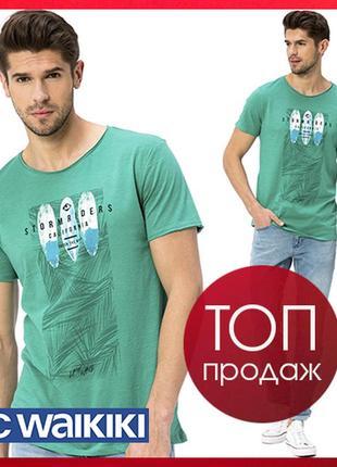#розвантажуюсь зеленая мужская футболка lc waikiki с надписью storm rides california