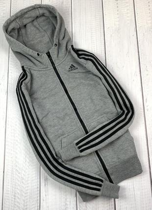 Зип-худи adidas original кофта толстовка xs мужская серая essentials