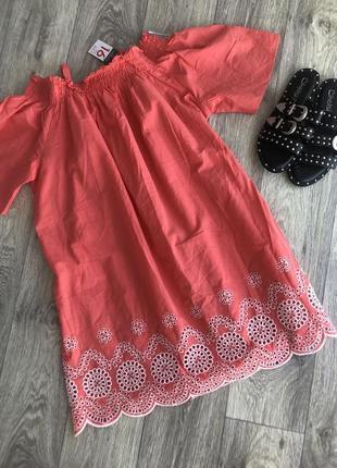 Очень нежное коралловое хлопковое платье с вышивкой и перфорацией можно для беременных1 фото