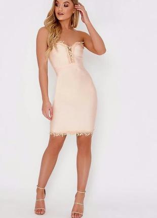 ‼️sale ‼️ эффектное бандажное платье, декорированное кружевом кроше