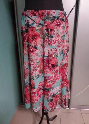 Яркая летняя юбка в цветочный принт большого 18-20 размера