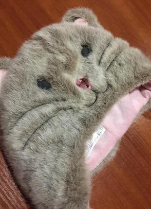 Шикарная шапочка кошка на зиму,3-6 лет