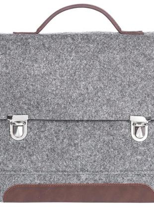 Gs13  серый войлочный портфель gmakin на металлических застежках