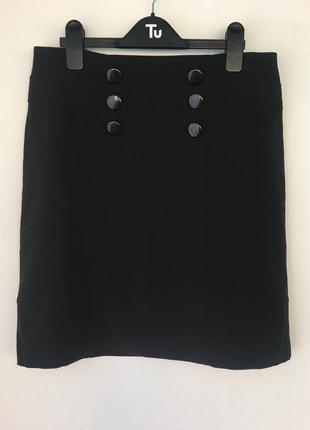 Новая черная юбка трапецией, на молнии, 12 размер