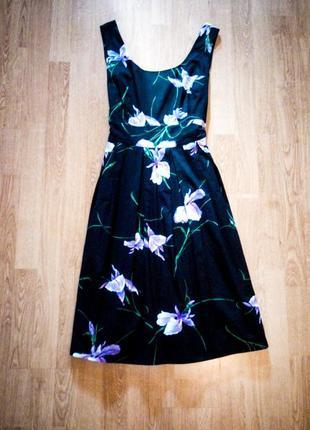 Платье чёрное миди с натуральной подкладкой цветочный принт fever london