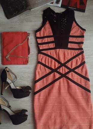 Бандажное платье / яркое платье утяжка /обувь в подарок
