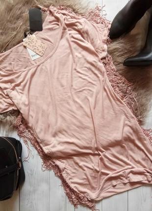 Платье туника футболка с бахромой
