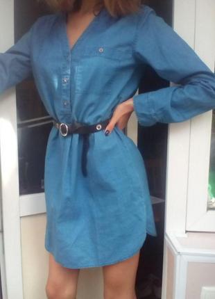 Джинсовое короткое платье с длинным рукавом