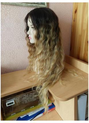 80 см! новый длинный парик на сетке с пробором омбре пшеничный блонд