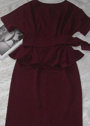 Акция до 22.00!  шикарный костюм с баской винного цвета!