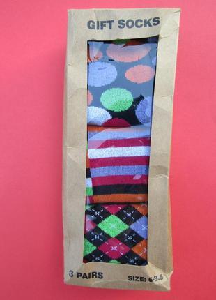 Подарочные необычные носки 3 пары\размер 6-8,5(европейский 39-42,5) и размер 9-11(43-46)