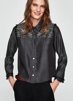 """Блуза с вышивкой и пайетками """"zara basic"""""""