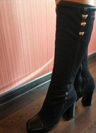 Скидка только 30 апреля! сапожки под замш vallenssia на каблуке р-р 40 или 25,7 см.