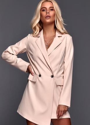 Бежевое платье пиджак плаття-піджак