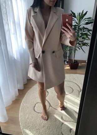 Бежевое платье пиджак плаття-піджак5 фото