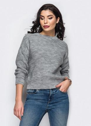 Вязанный свитер, рукав со спущенным плечом