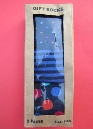 Подарочные необычные носки 3 пары\размер 6-8,5(европейский 39-42,5)