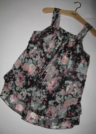 Изысканная шифоновая блуза майка с принтом e-vie