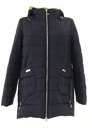 Темно-синяя батальная демисезонная куртка {52-62}