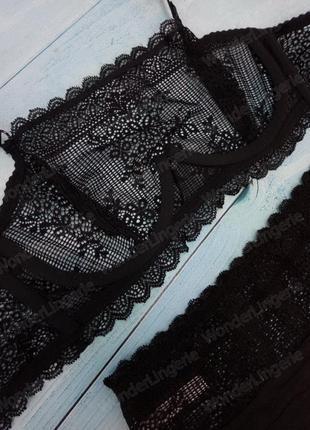 Tris-1700 sambario комплект черного кружевного белья бюстгальтер топ на косточке4 фото