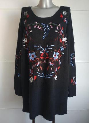 Красивый джемпер capsule с вышивкой красивых цветов, модного прямого кроя оверсайз1 фото