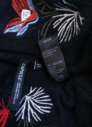 Красивый джемпер capsule с вышивкой красивых цветов, модного прямого кроя оверсайз7 фото