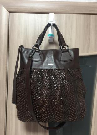 Кожаная сумка max mara, сумка кроссбоди