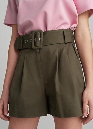 Городские шорты/ шорты с завышенной талией/ шорты с широким поясом
