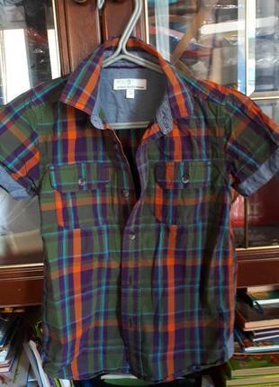 Яркая фирменная тенниска рубашка в клетку с джинсовыми акцентами в новом сост