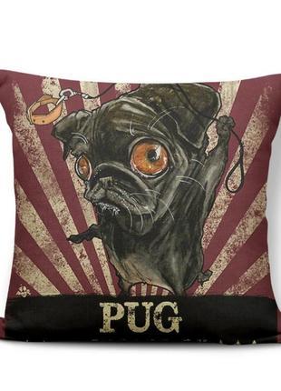 Декоративная наволочка 45×45 см с изображением порода собака мопса pug декор