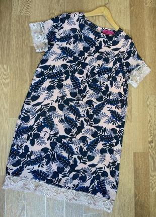 Нежнейшее шифоновое платье с французским кружевом