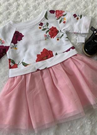 Новое нарядное платье в цветы с фатиновой юбкой old navy размер 12-18
