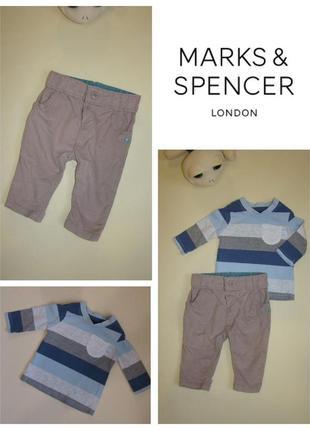 Комплект штаны вельветы m&s + реглан george малышу 3-6 мес