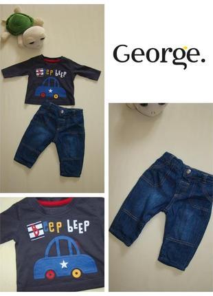 Комплект малышу 0-3 мес джинсы george + реглан primark