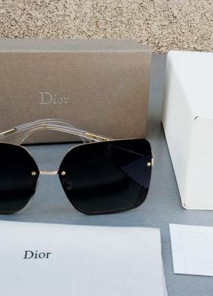 Christian dior очки женские солнцезащитные черные в золотой металлической оправе