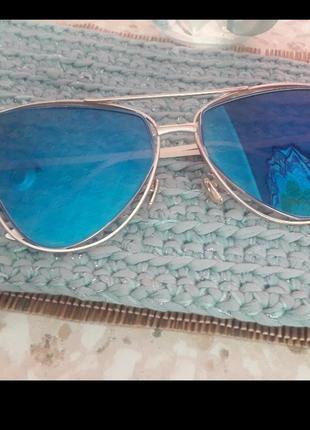 Очки с голубыми линзами! зеркальные очки! распродажа