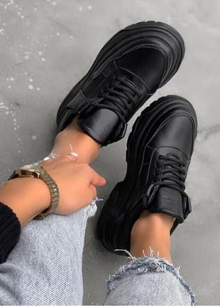 Натуральная кожа люксовые черные кроссовки на массивной платформе