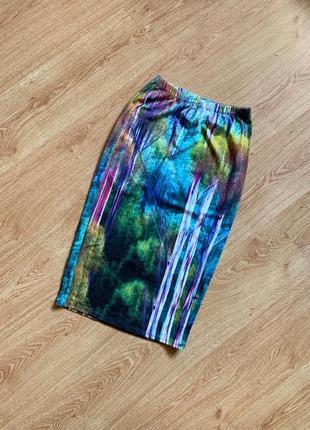 Длинная юбка карандаш с принтом зачарованного леса от topshop tall
