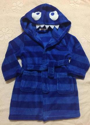 Теплый флисовый детский халатик в полоску bluezoo на ребенка 2-3 года