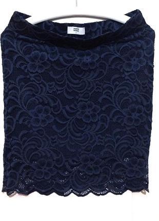 Гипюровая эластичная юбка карандаш на резинке