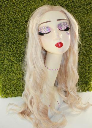 Парик блонд термостойкий на сетке блонд, имитация кожи головы