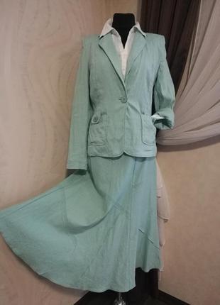 Льняной костюм юбка миди+жакет цвета мяты