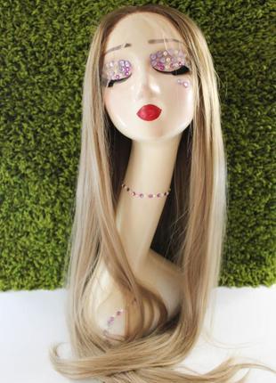 Парик термостойкий на сетке длинный омбрэ блонд, имитация кожи головы омбре балаяж